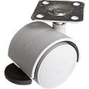 Опора колесная ОК40 мм с пятой (ОКП40Т) торм. белая