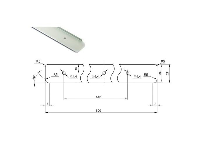 Планка H26 R5 торцевая универсальная (H28 R3) (450 штук)