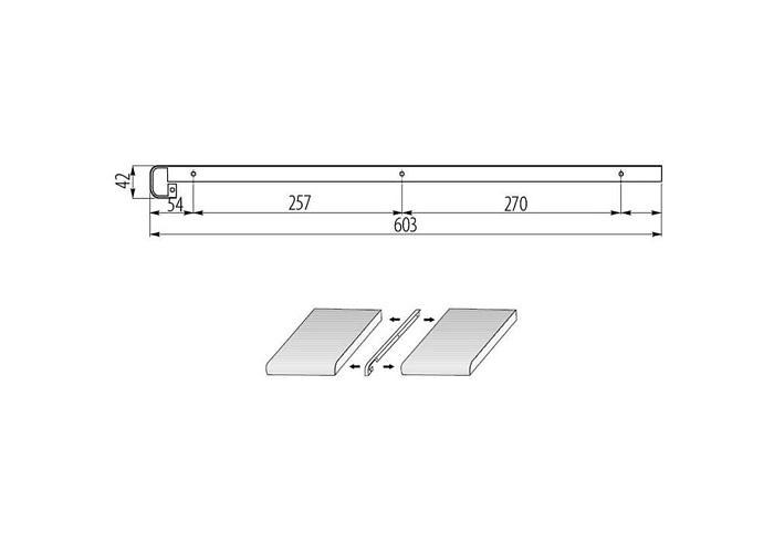 Планка H38 Т-образная щелевая глянцевая (С) (Н26 R9, Н26 R5)